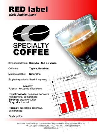 Kawa 100% Arabica 500 g RED Label Tom Caffé®