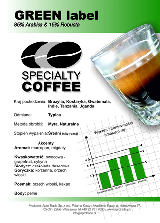 GREEN Label 85% Arabica + 15% Robusta 500 g